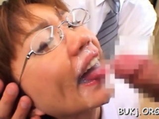 Resigned japanese hottie likes a nice bukkake play on cam asian blowjob bukkake